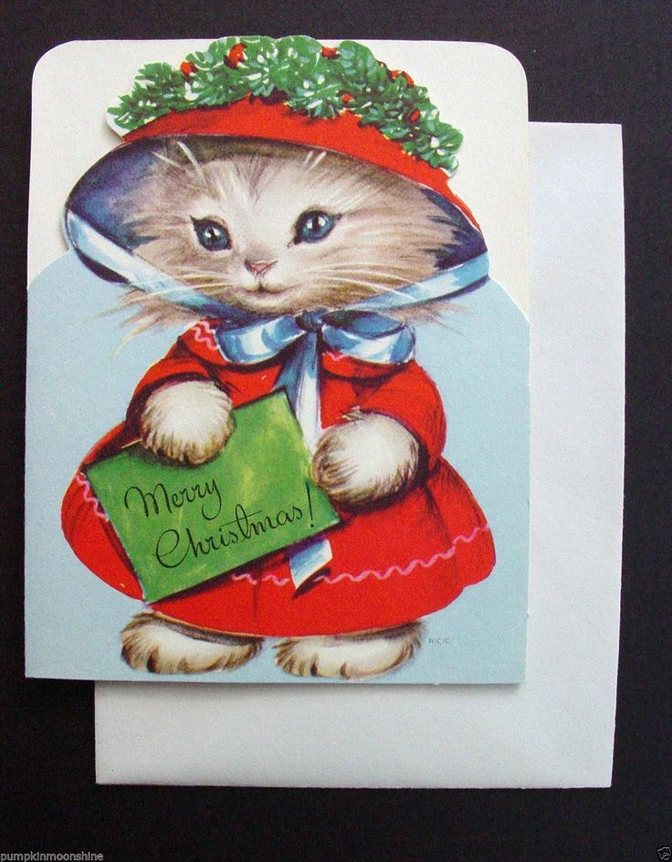 (F233 Unused) Marjorie Cooper Christmas Card (Cat with Holly Bonnet | eBay)