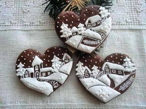 Cookies with winter decorations
