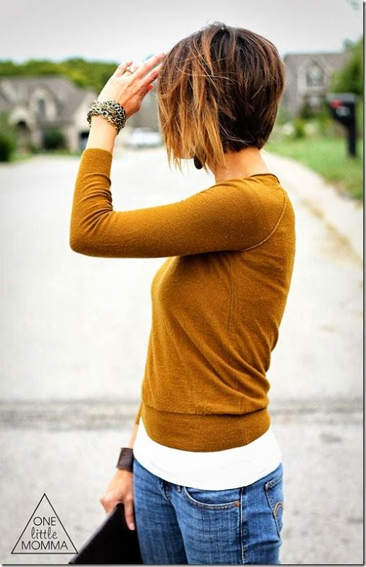 Hazel sweater  paired with chocolate leather. But lets get real, all we are really looking at is this amazing ombre bob pixie cut, right?