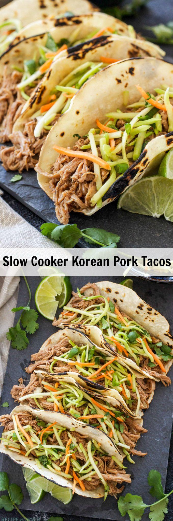 Slow Cooker Korean Pork Tacos | Pork tenderloin slow cooked in bold Korean BBQ spices makes a delicious, moist, shredded filling for tacos!