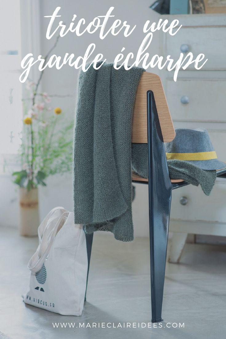 Tuto tricot pour tricoter une grande écharpe en mohair - Les patrons de tricot Marie Claire Idées