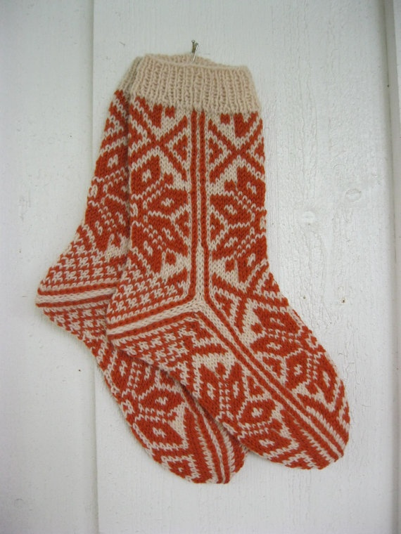 Handknitted Norweigan socks. I need these warm cozy socks for Christmas morning♥♥♥