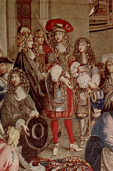 Louis XIV visits the Gobelins Manufactory, 15 October 1667. Detail from the Gobelin tapestry, after Le Brun. Note the short sleeved early Justaucorps.