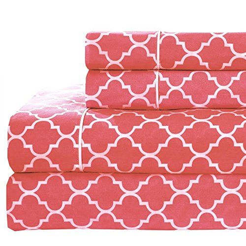 Full size- Coral Printed Meridian 100% Cotton Percale 4pc Sheet set- Modern Reactive Print