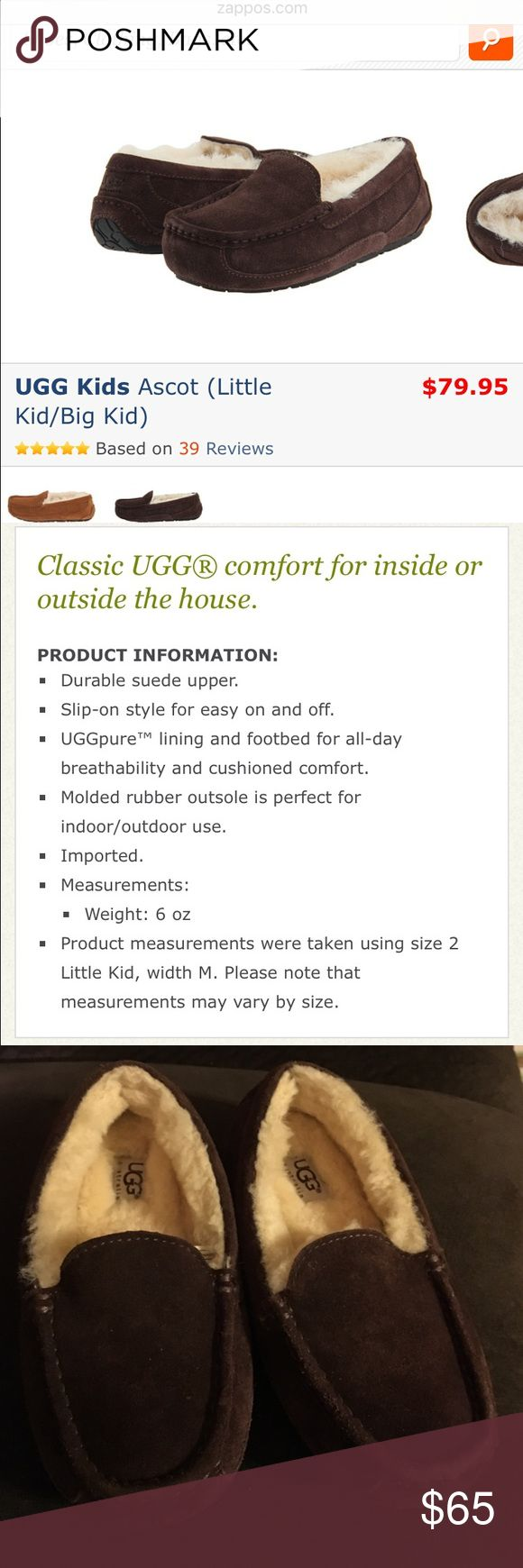 Kids Ugg slippers Excellent condition! My son only wore them twice and only indoors.. can be for either boys or girls. The first 2 pictures are from zappos.com showing the retail price and the details of the slipper. The last 2 pictures are of the actual slippers you will receive UGG Shoes Slippers