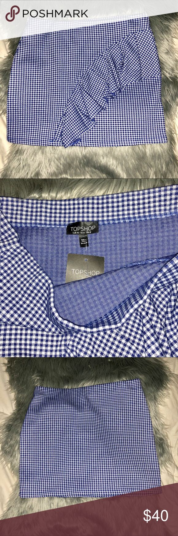 NWT Topshop Gingham Ruffle Jersey Mini Skirt NEW WITH TAGS; 51% Polyester, 49% Cotton; no trades;   Length: 16 inches Topshop Skirts Mini