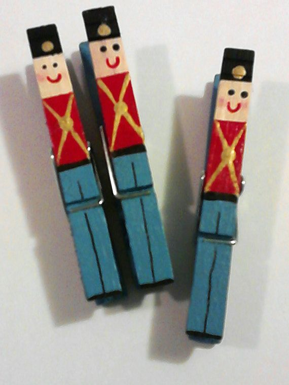 A Half Dozen Hand Painted Toy Soldier Clothespin By