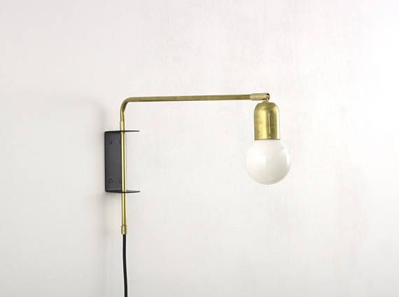 Brass Swing Wall Lamp With Wall Bracket And Plug And Switch In 2020 Brass Lamp Wall Lamp Lamp
