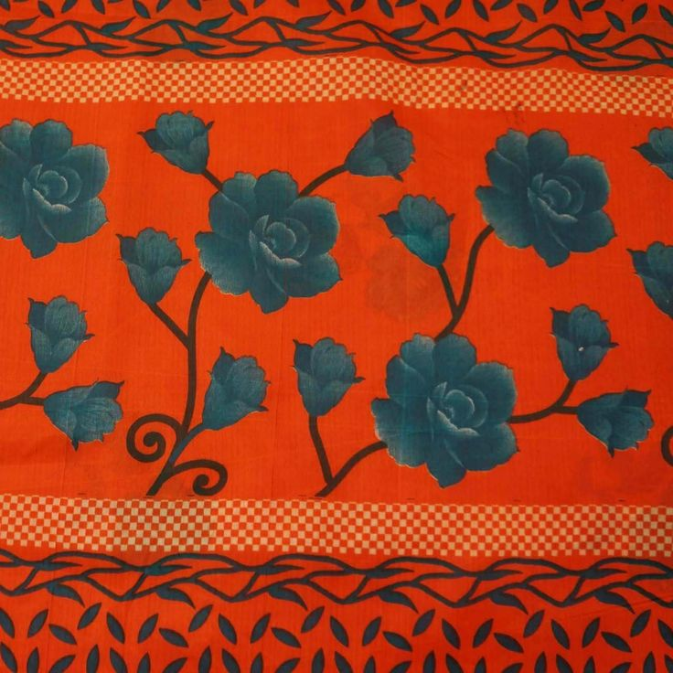Vintage Style New Indian Saree Pure Cotton Printed Fabric Decor Floral Orange: Amazon.co.uk: Kitchen & Home