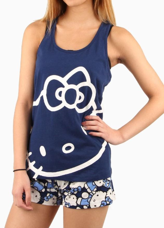 Dressed in #HelloKitty tank and matching shorts for a supercute night