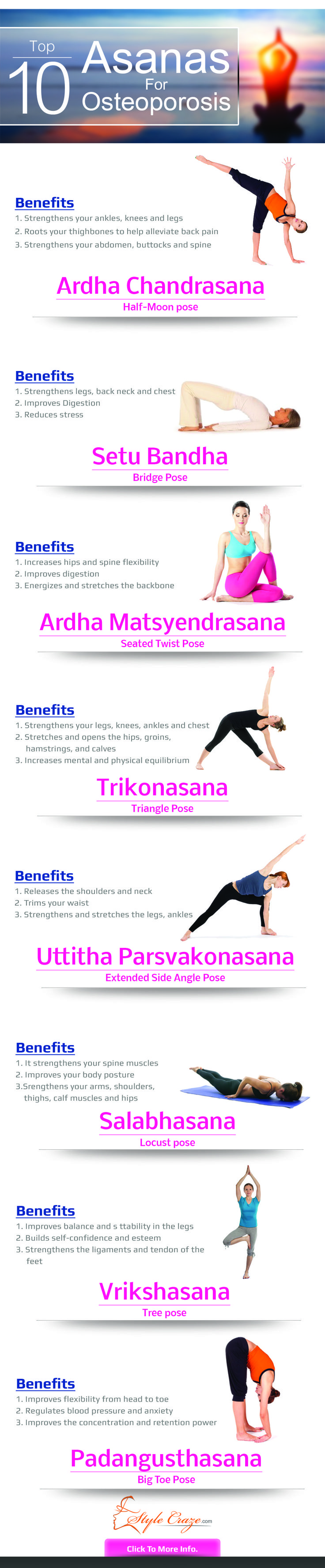 Listed below are the prominent yoga poses for osteoporosis. Follow this step by step yoga for osteoporosis the complete guide and get started: