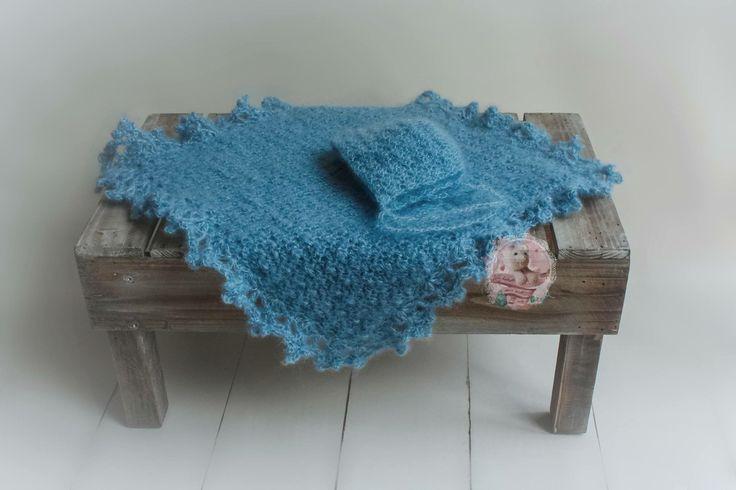 Gehäkelte Decke & Haube aus Mohair & Seide / Crochet Bonnet & Blanket
