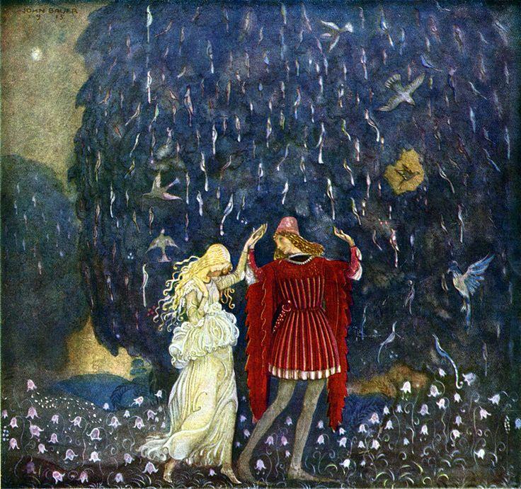 """Illustration by John Bauer for 'Guldnycklarna' from """"Bland Tomtar och Troll"""" (1915)"""