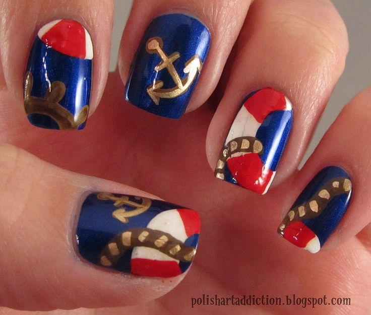 nautical nails: Polish Art, Nails Art, Nails Design, Sailors Nails, Nails Paintings, Nails Polish, Nautical Theme, Nautical Nails, Nails Tutorials