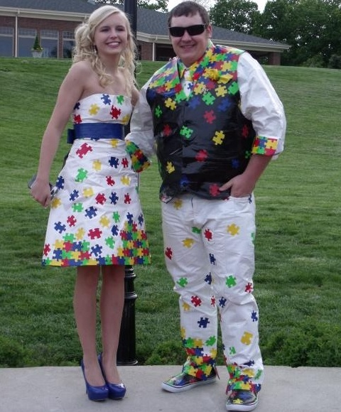 Autism Awareness Duck Tape dress and tux For you your date and/or friends For $40.00 off your ...