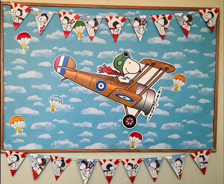 Peanuts and Snoopy Flying Ace Classroom Bulletin Board Idea, Classroom Decoration