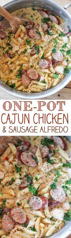 Chicken - One Pot Cajun Chicken Pasta Alfredo with Sausage