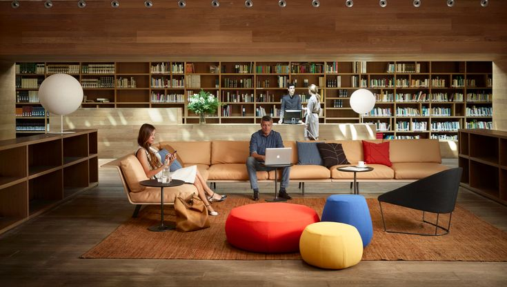 "From Arper Brief 4.2 "" Work Life"" Zinta sofa, Colina armchair, Pix poufs"