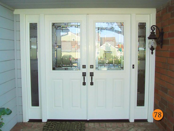 after  classic style plastpro smooth fiberglass double entry doors with double sidelights  model
