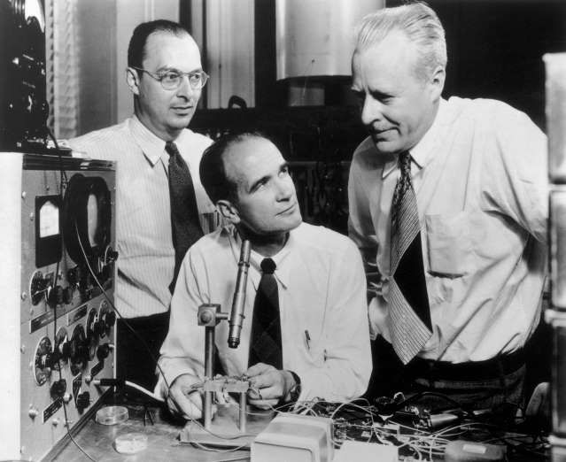 June 30,  1948: TRANSISTOR IS DEMONSTRATED  -   John Bardeen, Walter Brattain, and William Shockley demonstrate their invention, the transistor, for the first time.