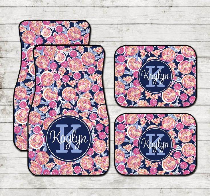 Personalized Car Floor Mats Lilly Inspired Pomegranate Monogrammed Carmats Personalized Custom Car Mats Cute Car Accessories For Women by ChicMonogram on Etsy