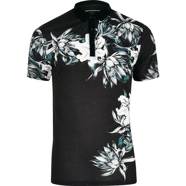 River Island Black floral print slim fit polo shirt ($29) ❤ liked on Polyvore featuring men's fashion, men's clothing, men's shirts, men's polos, mens short sleeve shirts, mens slim fit shirts, mens tall slim fit shirts, mens tall polo shirts and mens polo shirts
