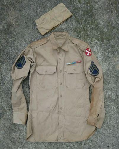Vtg-wwii-usmc-8th-Army-military-khaki-shirt-patch-uniform-cap-hat-Korean-War 5348edf53df