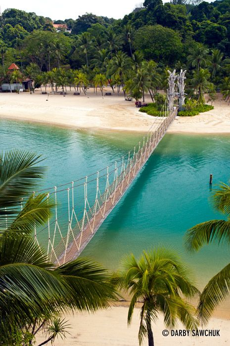 The suspension bridge at Palawan Beach on Sentosa Island, Singapore.