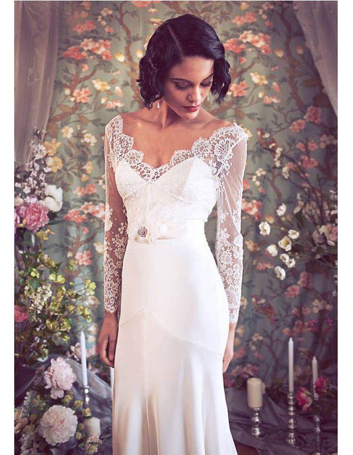 Robe de mariée rétro années 30                                                                                                                                                                                 Plus