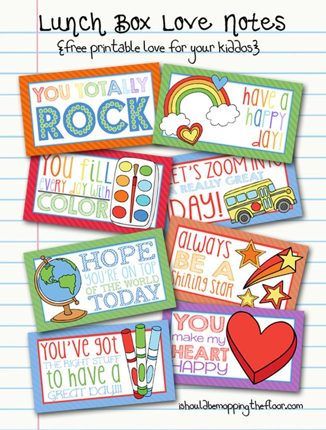 Lunch Box Love Notes | Free Printable - I Should Be Mopping The Floor via Reasons To Skip The Housework: Lunchbox Note, Lunch Boxes, Kids Lunches, For Kids, Schools Lunches, Lunches Note, Lunches Boxes Note, Love Note, Free Printable