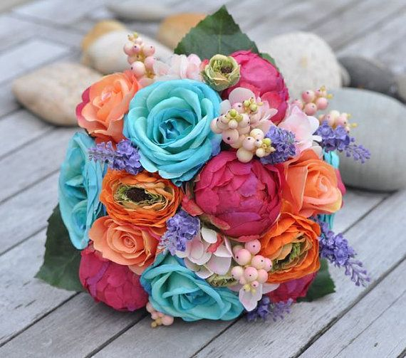 Tropical Wedding Bouquet, Bridal Bouquet made with Cabbage Roses, Pink Peonies, Lavender and Ranunculus made of silk flowers.