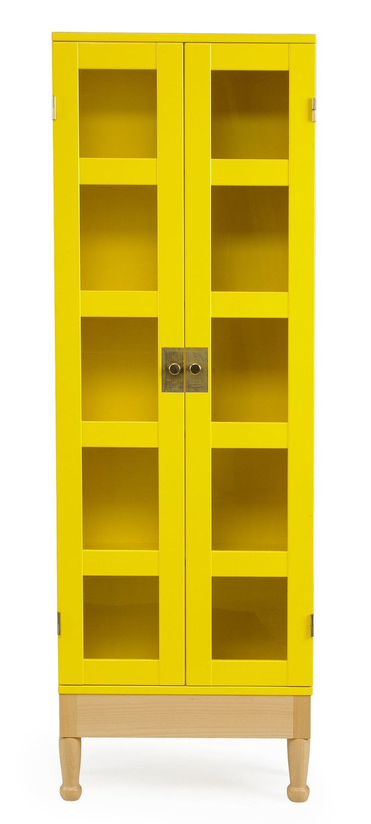 "Mats Theselius, ""National Geographic"", bookcases, Källemo, designed in 1990, yellow, opaque, glass doors, hardwood frame in beech, brass fittings, holds 25 issues of National Geographic,"