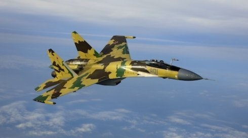 The Sukhoi SU-35 Super Flanker is distinguished by a redesigned fuselage,anti-radar materials,thrust vectoring nozzles.Note the absence of ducts and dorsal airbrake - Photo JSC