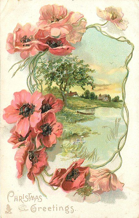 CHRISTMAS GREETINGS lakeside scene with farm houses in distance, framed by poppies