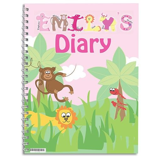 Personalised Diary for Girls - Animal Alphabet  from Personalised Gifts Shop - ONLY £7.99