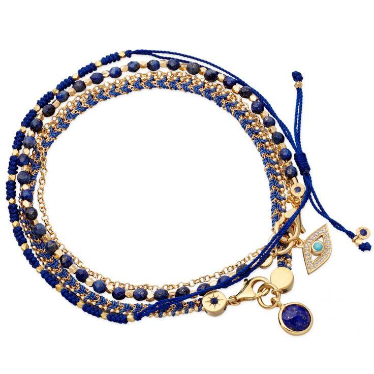 Evil Eye friendship bracelet stack in 18 carat gold vermeil on sterling silver by Astley Clarke Biography.