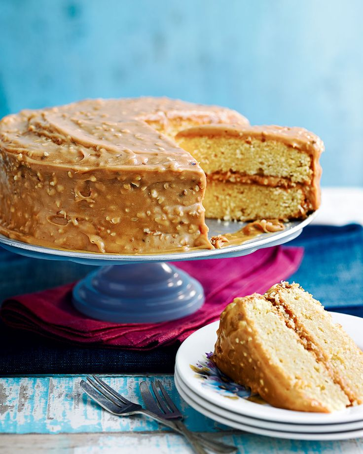Toasted hazelnuts and golden caramel icing take this cake from an afternoon treat to a decadent dessert.