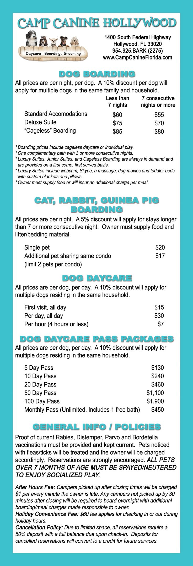 Camp Canine Doggie Daycare, Spa, Boca Raton, Fort Lauderdale, Hollywood, Florida provides dog lodging, professional dog grooming, fully supervised cageless daycare for dogs.