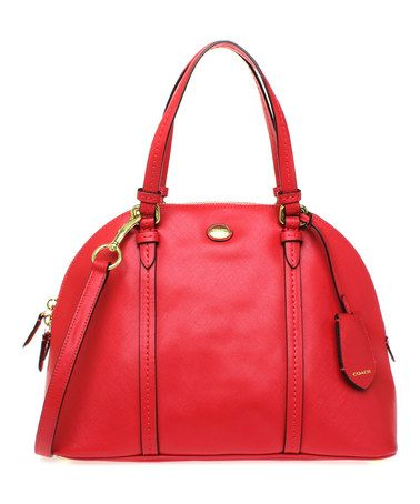 Persimmon Peyton Cora Domed Leather Satchel by Coach #zulilyfinds
