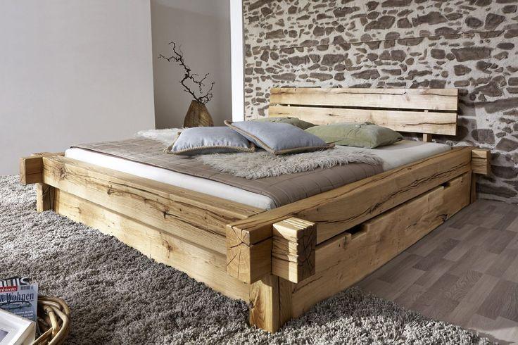 Amazon.de: SAM® Holzbett Jonas 180 x 200 cm mit Schubkästen Bett aus geölter Wildeiche Holz massiv (Cool Woodworking)