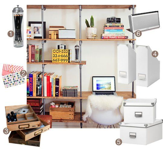 The Anatomy of a Clean Desk: Tips & Products for a Clutter Free Desk | Apartment Therapy: Anatomy, Pipes Shelves, Offices Spaces, Apartment Therapy, Free Desks, Clutter Free Home, Products, Home Offices, Clean Desks