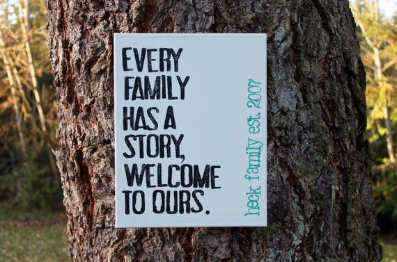 "Love the simplicity of this...Great housewarming or wedding gift!  This is on my family photo wall. 11x14 CUSTOM canvas ""Every family has a story..."" customize with your family name.  by Houseof3 on Etsy"