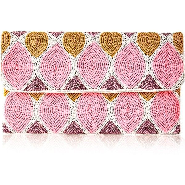 From St Xavier Abigail Beaded Clutch Bag ($97) ❤ liked on Polyvore featuring bags, handbags, clutches, pink, evening purses, long strap purse, boho purses, bohemian purses and evening hand bags