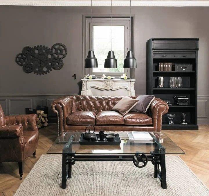 Epingle Par M Pelletier Sur Canape En Cuir Salon Marron Maison