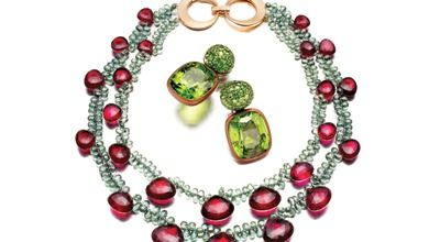 Tourmaline and green sapphire necklace with rose gold clasp  -  JAMES DE GIVENCHY FOR TAFFIN
