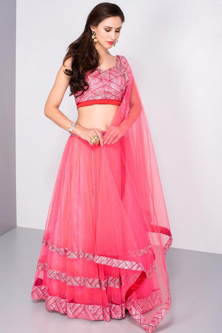 MAHIMA MAHAJAN pink sequin lehenga set