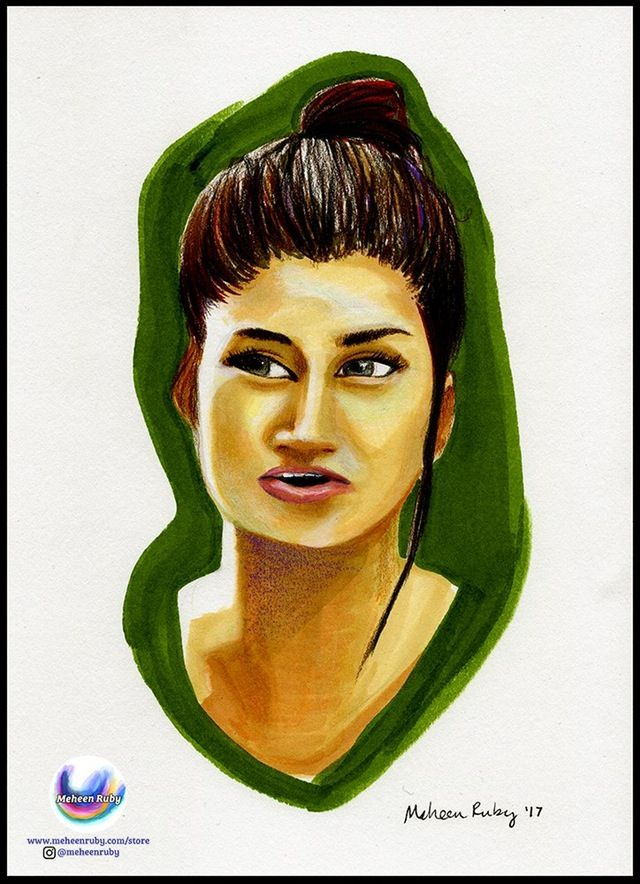 qandeel baloch, marker & colored pencil illustration on paper, 9x12""