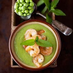 Minty Sweet Pea and Zucchini Soup with Garlic Shrimp #foodgawker