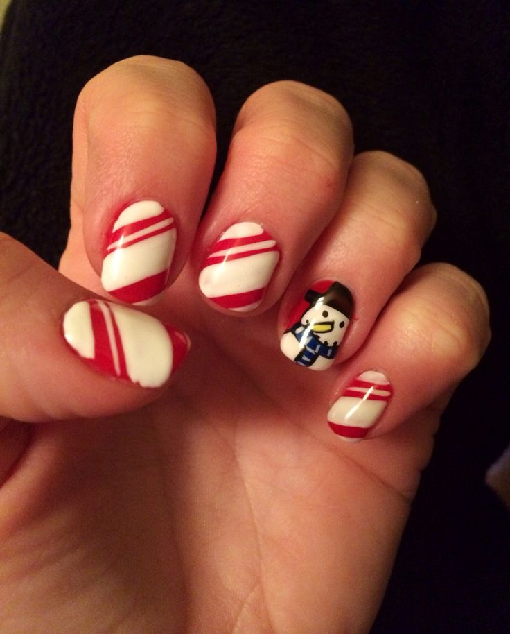 My Christmas nails...candy cane with a Frosty the Snowman ;)