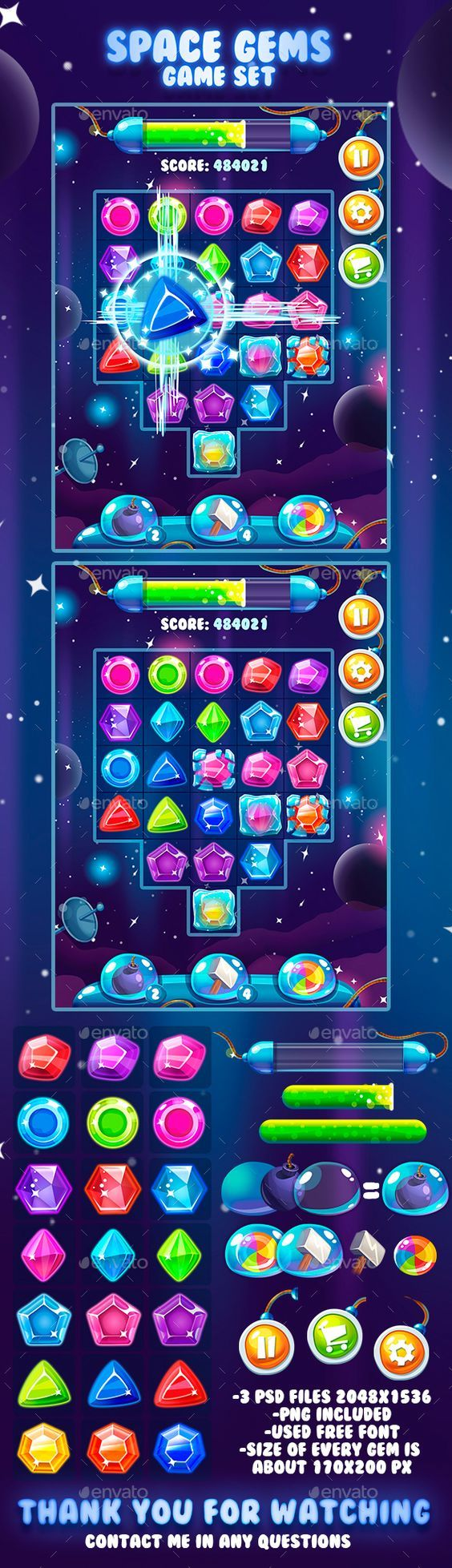 """Check out my @Behance project: """"Space Gems Game Asset"""" https://www.behance.net/gallery/47009175/Space-Gems-Game-Asset:"""